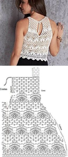 patrones de top a crochet ideas Chunky Crochet Scarf, One Skein Crochet, Crochet Baby Cardigan, Crochet Crop Top, Crochet Cardigan, Crochet Lace, Crochet Amigurumi Free Patterns, Crochet Chart, Crochet Ideas