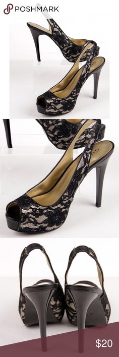 Guess Black Gold Lace Platform Sling Back Heels Guess Black & Metallic Gold Lace Platform Sling Back Heels   Excellent Condition  Size 8.5  Bold and Beautiful. Pair with your favorite dress for a night out on the town!  4 inch black heel and open toes to show off those great sexy pedicures! It has a great elastic strap to keep them from sliding off your feet and they are so comfy can wear them all night dancing and partying!   So sexy and cute! True to size. Guess Shoes Platforms