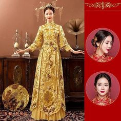 Chinese Marriage, Chinese Bride, Royal Marriage, Marriage Dress, Royal Dresses, Bride Dresses, Dress Vestidos, Cheongsam Dress, Chinese Clothing