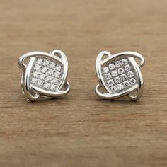 Round Cut Diamond Woemn's Stud Earring White Gold Over Round Cut Diamond, Round Diamonds, Square Earrings, Stud Earrings, White Gold Hoops, Natural Diamonds, Colored Diamonds, Earrings Handmade, Cuba
