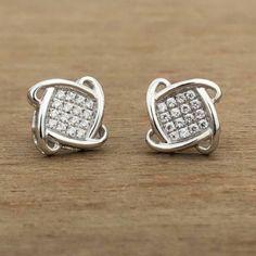 Round Cut Diamond Woemn's Stud Earring White Gold Over Round Cut Diamond, Round Diamonds, Square Earrings, Stud Earrings, White Gold Hoops, Natural Diamonds, Colored Diamonds, Earrings Handmade, Cufflinks