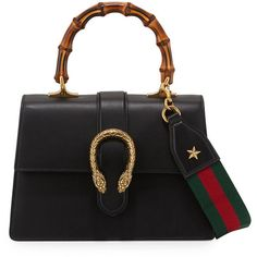 Gucci Dionysus Small Top-Handle Satchel Bag (€2.470) ❤ liked on Polyvore featuring bags, handbags, black, leather satchel, structured handbags, leather purses, top handle satchel handbags and gucci