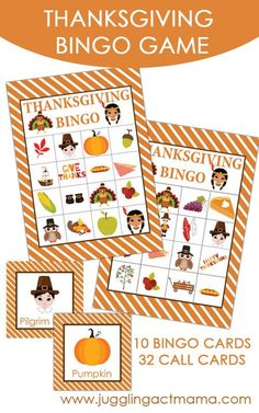 Free Printable Thanksgiving Bingo Game | Kids Thanksgiving Games | Miss Information