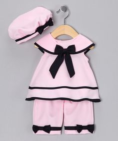 Take a look at this Pink Nautical Capri Set - Infant by Rare Editions on #zulily today!