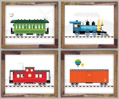 Four Train Prints 10 x 12 Boys Room Art by CloudSweptKids on Etsy, $39.00