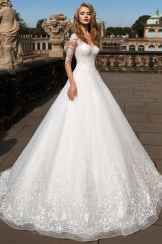 Attractive Tulle Sheer Bateau Neckline A-Line Wedding Dress with Lace Appliques