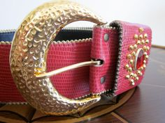 Rocker Belt 1980s / Womens / Red / Gold by TheThriftingMagpie, $10.00