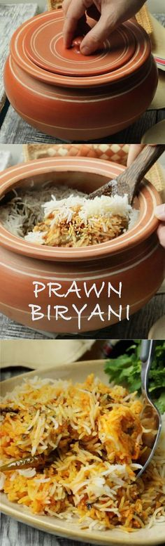 We ❤ this flavorful biryani! Delicious prawn biryani layered and cooked on dum - specially for seafood lovers! Prawn Biryani Recipes, Prawn Recipes, Veg Recipes, Indian Food Recipes, Chicken Recipes, Cooking Recipes, Curry Recipes, Keema Recipes, Cooking Tips