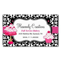 Black, White, and Pink Damask Bakery Business Card. Make your own business card with this great design. All you need is to add your info to this template. Click the image to try it out!