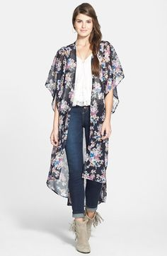 Mimi Chica Print Duster Kimono Jacket (Juniors) available at #Nordstrom