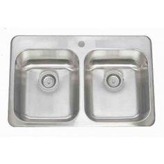 Lenova CA-TM-ED Stainless Steel Sink Equal Double Bowl 18 Gauge Top Mount