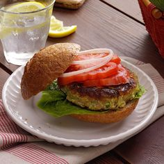 Zucchini Burgers-- delicious, easy and healthy! Great way to use tomatoes and zucchini from the garden :) Vegetable Recipes, Vegetarian Recipes, Healthy Recipes, Veggie Dishes, Healthy Foods, New Recipes, Cooking Recipes, Recipies, Shrimp Recipes
