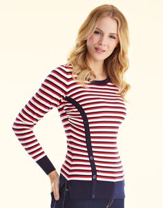 Button Detail Jumper in Multi Stripe - Pepperberry - £42. This would look great with blue jeans and your converse pumps if you felt you needed a jumper. I quite like the button detail, do you?
