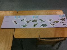 Use tri-fold paper, stickers, labels, and other craft materials to construct a dinosaur eras timeline.