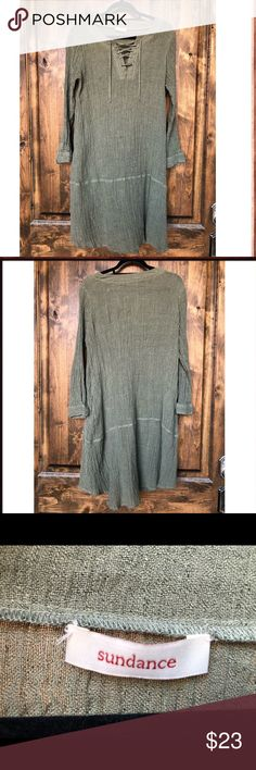 Green Sundance Loose Fit Dress I couldn't find the size tag, but I'm a size 8, and it fits me loose.  I'd guess it's a 10-12 though I've worn it with my Fry boots on a few occasions. Sundance Dresses