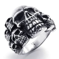 Size 11 – KONOV Jewelry Biker Mens Gothic Skull Stainless Steel Ring, Color Black Silver   http://bikeraa.com/size-11-konov-jewelry-biker-mens-gothic-skull-stainless-steel-ring-color-black-silver/
