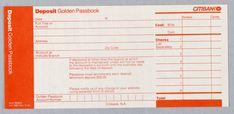 Print, Citibank Golden Passbook Deposit Slip, ca. 1975—Dan Friedman