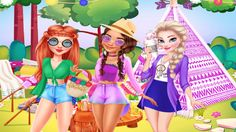 In Princesses Summer Glamping Trip, they are going glamping! What is that you ask? Is just a very glamorous way of camping! And you know they will need some really fashionable outfits, even if it's just for outside. Dress up the girls in colorful casual clothes and then decorate their camping site making it comfy and cute. And let's not forget about food! Have fun!