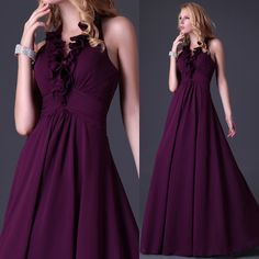Love the neck line Long Formal Gowns, Long Dresses, Nice Dresses, Evening Dresses, Formal Dresses, Dark Purple Prom Dresses, 8th Grade Graduation Dresses, Formal Wear Women, Virtual Closet