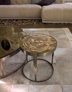 """""""AMADEUS"""" Side Table -  Bright chrome finish steel base - Ceramic Top    & Coffee Table in Matt satined bronze steel base -- SMOKY bevelled 6mm mirror top"""