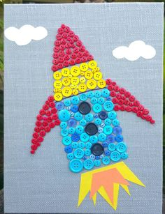 Button Art Rocket Canvas craft Panel art Baby by LotOfButtons