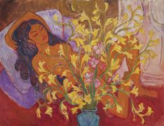 Jettli with a Vase of Orchids - Theo Meier