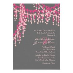 Pink and Grey Wedding Invitations | Fall Wedding Invitations » Pink And Gray Beaded Wedding Invitation