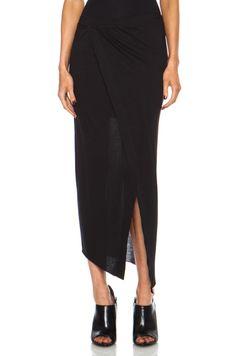 Helmut Lang|Kinetic Jersey Long Wrap Skirt in Black