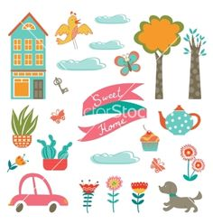 Home sweet home colorful set vector  - by Olillia on VectorStock®