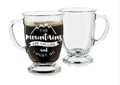 Mountains are Calling - Etched Glass Mug by sketchedglass on Etsy