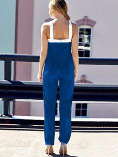 SUMMER NEWEST PLAIN BLUE SLIM CLOTHING SLEEVELESS ROUND NECK BACKLESS SEXY LADY SHEATH JUMPSUIT