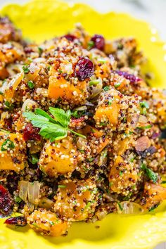 Maple-Roasted Butternut Squash Quinoa Harvest Salad - Easy and packed with big fall flavors!! Maple syrup, squash, and cranberries were made for each other! Love it when healthy tastes so good!!