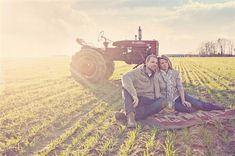 Love this style of engagement photos. Insert a green tractor and it's perfect.