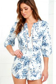 On an island near the swaying palms is the perfect place for the Rhythm Hanalei Blue Floral Print Romper! Pale blue cotton-blend fabric with a deep blue floral print starts at a collarless neckline (with button placket and pierced embroidery), and carries into three-quarter sleeves with elastic cuffs. Tasseled drawstring tops relaxed shorts. Small logo tag at bottom. #CuteDresses #TrendyTops, #FashionShoes #JuniorsClothing