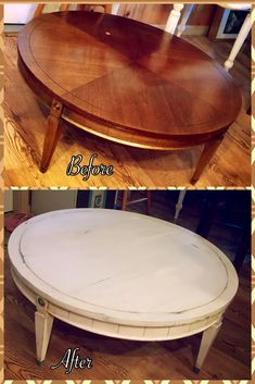 Vintage Round Coffee Table Makeover Antiques And Distresses In White Before And After