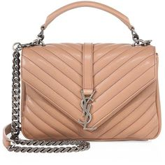 Monogram medium matelasse leather college bag by Saint Laurent. Defined by the elegance of matelasse leather, this sleek envelope design features timeless styling - an antiqued chai. Red Shoulder Bags, Chain Shoulder Bag, Leather Shoulder Bag, Shoulder Handbags, Saint Laurent Purse, Saint Laurent Handbags, Nude Bags, Tan Purse, Monogrammed Purses