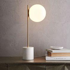 "Sphere + Stem Table Lamp // Side Table Lighting // 8""w x 22""h"
