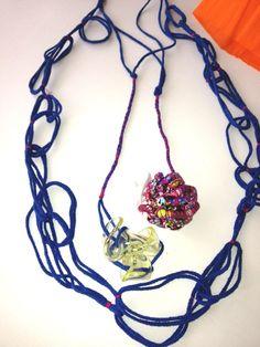 12 loops Fabric Squares, Crochet Necklace, Jewelry, Jewlery, Jewerly, Schmuck, Jewels, Jewelery, Fine Jewelry