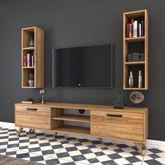 Rani Wall Shelf Bookcase Tv Unit Wall Mounted Price – dolap – Home Decor Tv Unit Decor, Tv Wall Decor, Tv Wall Design, Tv Unit Design, Minimalist House Design, Minimalist Home, Home Living Room, Living Room Designs, White Tv Unit