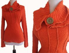 use excess material from dart cuts to layer neck line - Recycled Sweater by RebeccasArtCloset,