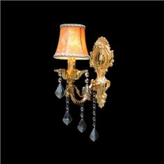 Luxury One-light Wall Sconce Accented with Elegant Crystal Droplets and Graceful Orange Fabric Shade