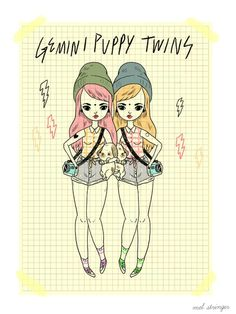 melstringer:  Tuesday morning illustration goodness.Gemini Puppy Twins!