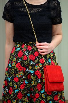 Forget floral for spring, I'm all about a floral skirt for winter!