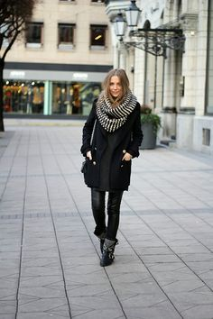 Fashion and style: Stockholm - Look of the day scarf black coat autumn women outfit clothing style apparel fashion
