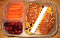 What's in our lunch box: String cheese nestled between yummy peanut butter & banana on a whole wheat hot dog bun.