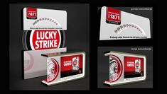Lucky Strike  Lucky Strike HORECA design promo material, inspired by company visual identity. Promo desk, wall display, presenter. Materials: acrylic plates, alucobond, LED lights. Client; BAT, agency: GREY, Belgrade 2012.