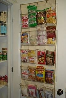 Great idea for organizing all those small things that make such a huge mess in the pantry.