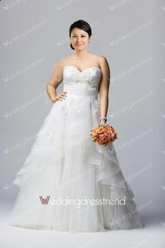 Extravagant A-line Sweetheart Beaded Plus Size Wedding Dress