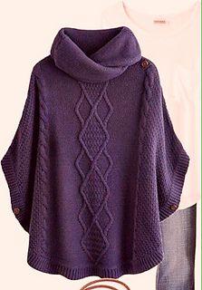 Amei a cor deste poncho em tricô