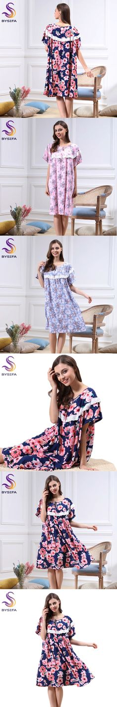 Summer Ladies Cotton Nightgown Home Apparel Lounge Navy Blue Night-suit Gown Loose Comfortable Sweet Floral Sleepwear nighty